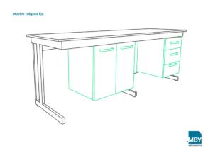 Mueble colgado fijo para laboratorio